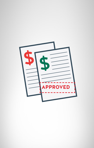 Two document illustrating approved home loan application